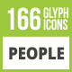 166 People Glyph Inverted Icons - GraphicRiver Item for Sale