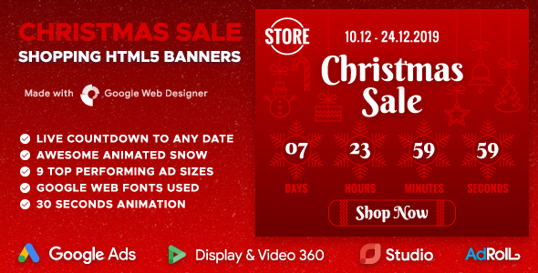 Christmas Sale - HTML5 Banners with Animated Snow and Live Countdown (GWD)            Nulled