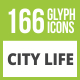 166 City Life Glyph Inverted Icons - GraphicRiver Item for Sale