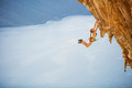 Female rock climber jumping on handholds on challenging route  - PhotoDune Item for Sale