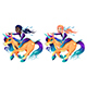 Couple of Girls are Riding the Unicorns - GraphicRiver Item for Sale