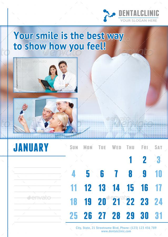 medical or dental clinic calendar 2019 template by 21min. Black Bedroom Furniture Sets. Home Design Ideas