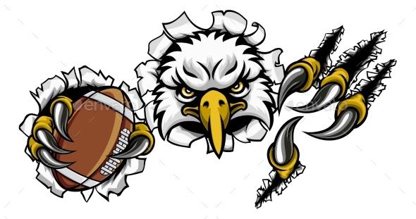 Eagle Football Cartoon Mascot Tearing Background - Sports/Activity Conceptual