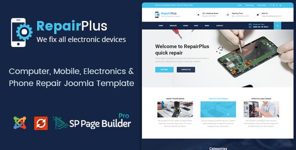 Repair Plus - Computer, Mobile, Electronics and Phone Repair Joomla Template - Business Corporate