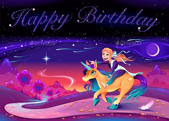 Happy Birthday Card with Girl Riding the Unicorn - Birthdays Seasons/Holidays