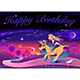 Happy Birthday Card with Girl Riding the Unicorn - GraphicRiver Item for Sale