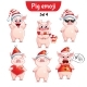 Vector Set of Christmas Pig Characters Set 4 - GraphicRiver Item for Sale