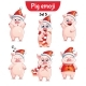 Vector Set of Christmas Pig Characters Set 5 - GraphicRiver Item for Sale