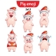 Vector Set of Christmas Pig Characters Set 3 - GraphicRiver Item for Sale