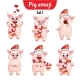 Vector Set of Christmas Pig Characters - GraphicRiver Item for Sale