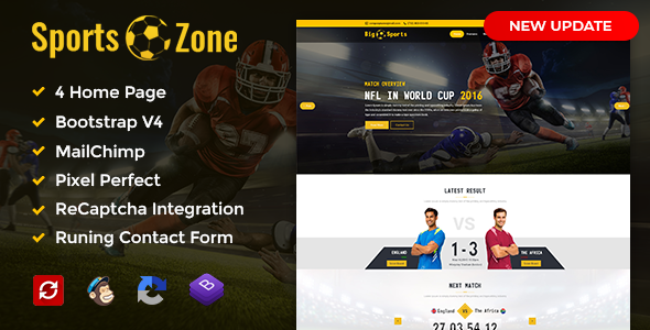 SportsZone: Sports Club, New & Game Magazine Mobile Responsive Bootstrap HTML Template - Entertainment Site Templates