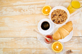 Good morning. Continental breakfast on ristic wooden background. - PhotoDune Item for Sale