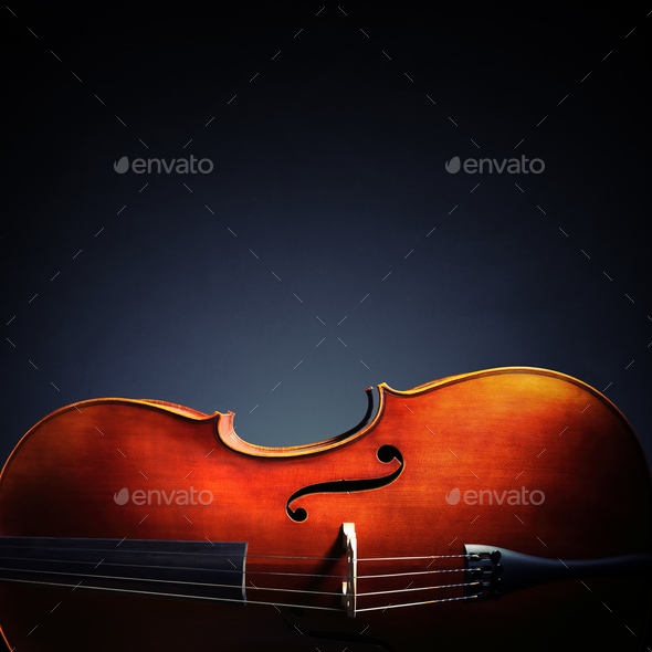 Cello on black background with copy space for music album or cd