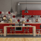 Retro red kitchen - PhotoDune Item for Sale