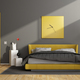 Gray and yellow modern bedroom - PhotoDune Item for Sale
