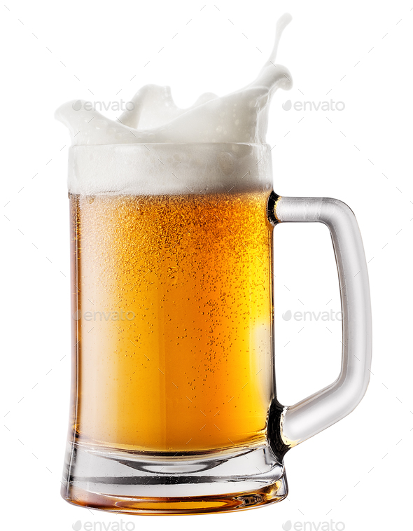 Splash foam in mug with beer - Stock Photo - Images