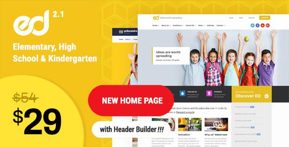 Ed School: Education, Elementary-High School WordPress Theme