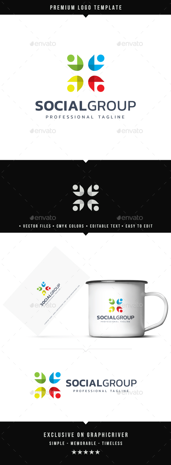 Social Group Logo - Abstract Logo Templates