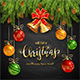 Christmas Lettering on Black Chalkboard Background with Golden Bells and Balls - GraphicRiver Item for Sale