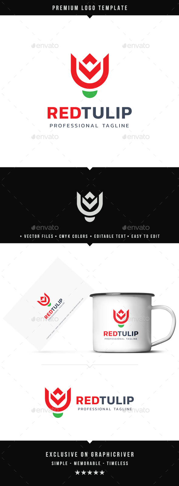 Red Tulip Logo - Nature Logo Templates