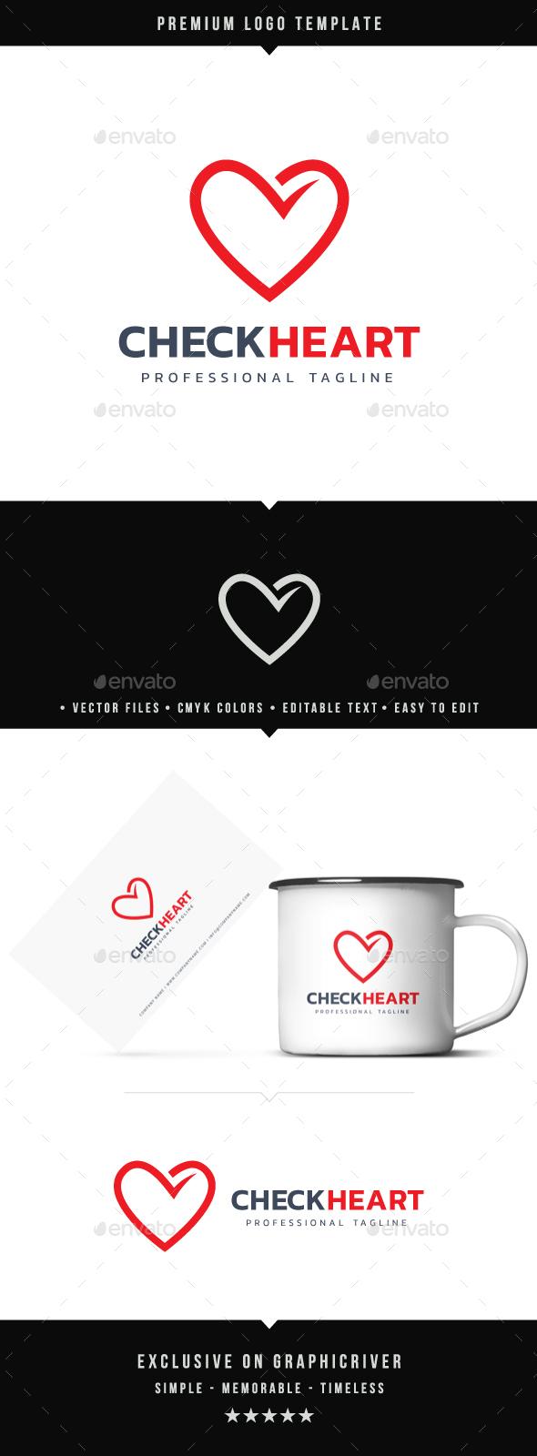 Check Heart Logo - Symbols Logo Templates