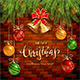 Christmas Lettering on Brick Wall Background with Golden Bells and Balls - GraphicRiver Item for Sale