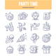 Party Time Doodle Icons - GraphicRiver Item for Sale
