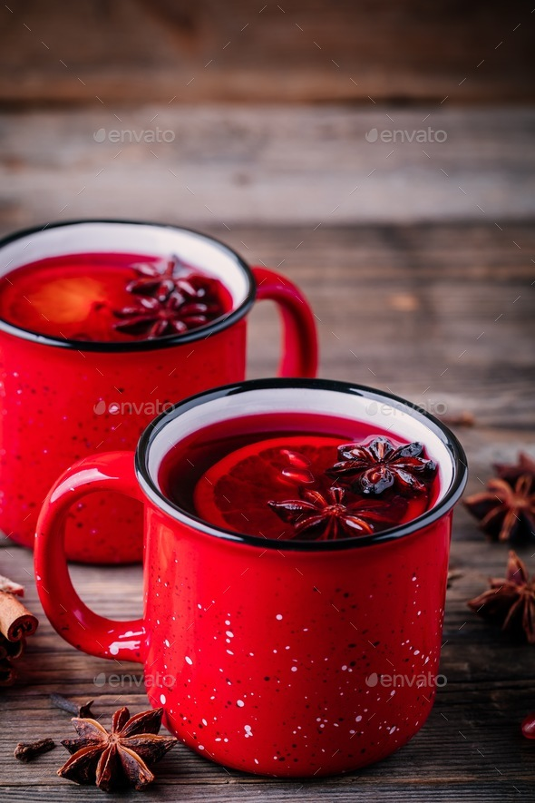 Spiced Pomegranate Apple Cider Mulled Wine Sangria - Stock Photo - Images