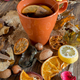 cup of tea on autumnal background - PhotoDune Item for Sale