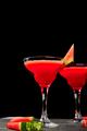 Watermelon margarita cocktail on black background. Fresh watermelon lemonade - PhotoDune Item for Sale