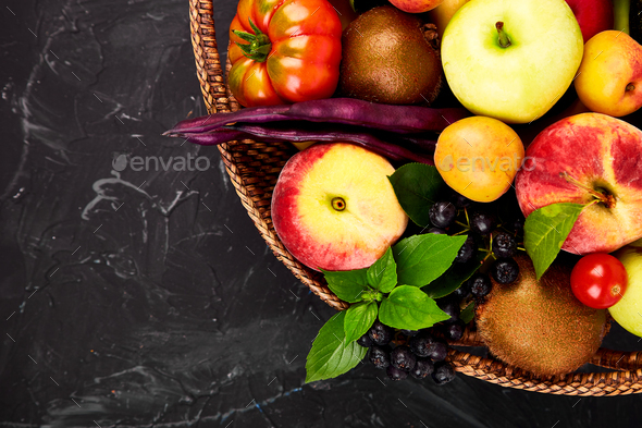 Healthy colorful food selection: fruit, vegetable, superfood - Stock Photo - Images
