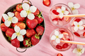 Strawberry detox water with jasmine flower. Summer iced drink or tea - PhotoDune Item for Sale