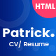 Patrick - Modern Personal CV / Resume HTML Template - ThemeForest Item for Sale
