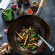 Stir-fried beef and noodles with oyster sauce in a wok, preparation process - PhotoDune Item for Sale