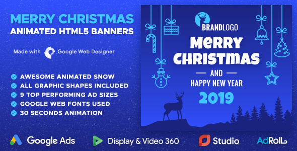 Merry Christmas and Happy New Year Animated HTML5 Banners (GWD)            Nulled