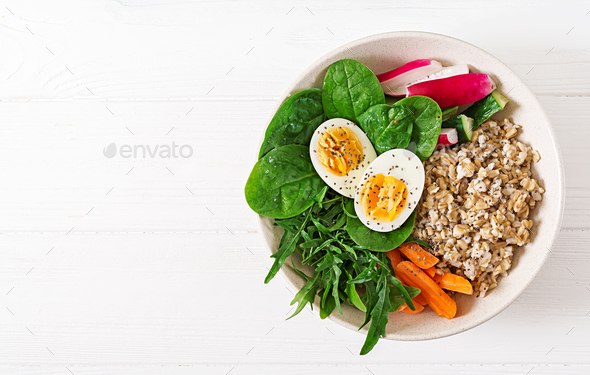 Concept healthy food and sports lifestyle. Vegetarian lunch. - Stock Photo - Images