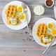 Healthy breakfast or snack. Potato waffles and boiled egg on grey wooden table. Top view. Flat lay - PhotoDune Item for Sale