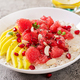 Delicious and healthy oatmeal with grapefruit, pomegranate, almond and chia seeds.   - PhotoDune Item for Sale