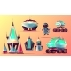 Set of Future Space Exploring Cartoon Vector Icons - GraphicRiver Item for Sale