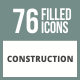 76 Construction Filled Round Corner Icons - GraphicRiver Item for Sale