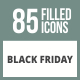85 Black Friday Filled Round Corner Icons - GraphicRiver Item for Sale