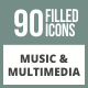 90 Music & Multimedia Filled Round Corner Icons - GraphicRiver Item for Sale