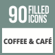90 Coffee & Cafe Filled Round Corner Icons - GraphicRiver Item for Sale