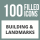 100 Building & Landmarks Filled Round Corner Icons - GraphicRiver Item for Sale