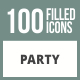 100 Party Filled Round Corner Icons - GraphicRiver Item for Sale