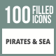 100 Pirate & Sea Filled Round Corner Icons - GraphicRiver Item for Sale