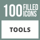 100 Tools Filled Round Corner Icons - GraphicRiver Item for Sale