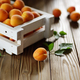 White wooden crate with apricots on table - PhotoDune Item for Sale
