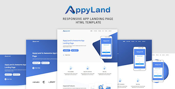 Appyland Responsive App Landing Page, HTML Template