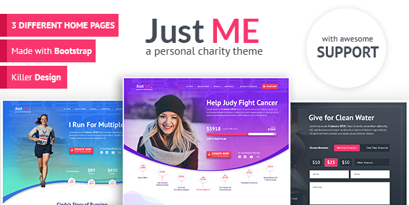 Just Me - Your Personal Charity, Donation or Fundraiser Template by MediumRed